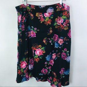 Frock Shop Skirt Dark Floral Ruffle Modcloth XL